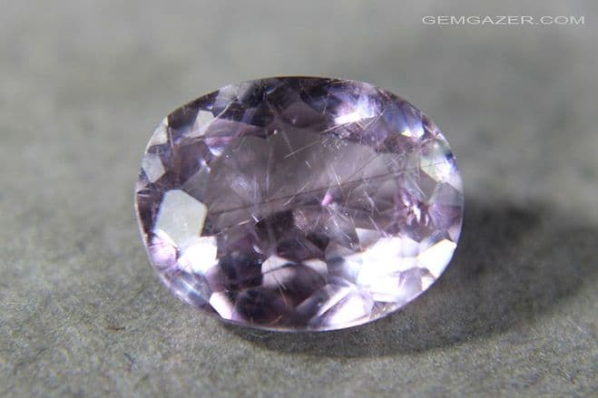 Purple-pink Diaspore with colour shift, faceted. Afghanistan. 2.00 carats.