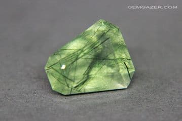 Quartz with Actinolite inclusions, faceted, Brazil.  4.96 carats. ** SOLD **