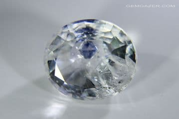 Quartz with blue Fluorite crystal inclusion, faceted, Madagascar.  7.04 carats. ** SOLD **