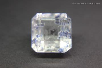 Quartz with blue Fluorite crystal inclusions, faceted, Madagascar.  14.16 carats. ** SOLD **