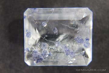 Quartz with blue Fluorite crystal inclusions, faceted, Madagascar.  28.36 carats.