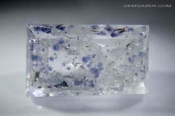 Quartz with blue Fluorite crystal inclusions, faceted, Madagascar. 51.61 carats.