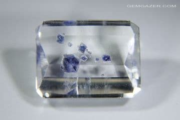 Quartz with blue Fluorite crystal inclusions, faceted, Madagascar. 6.30 carats. ** SOLD **