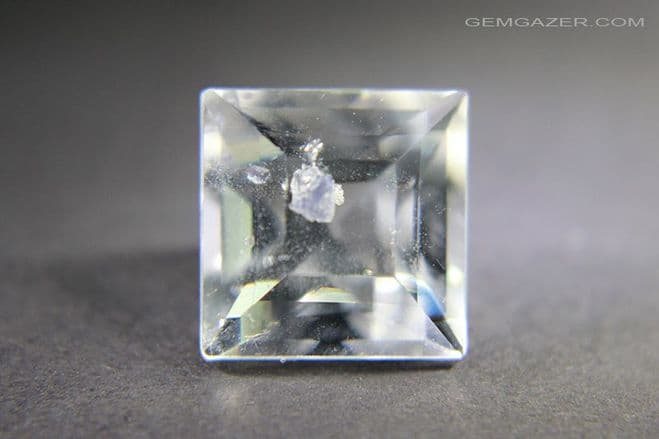 Quartz with blue Fluorite crystal inclusions, faceted, Madagascar. 7.70 carats