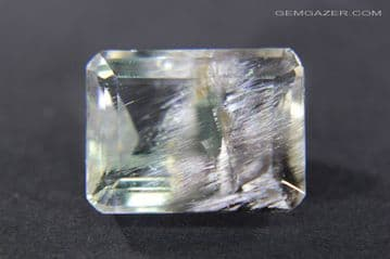 Quartz with Brookite inclusions, faceted, Brazil. 10.42 carats.