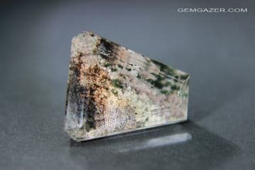 Quartz with Lodolite (clay) inclusions, faceted, Madagascar. 34.26 carats.
