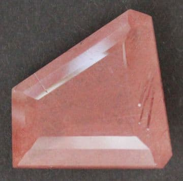 Quartz with red Rutile inclusions, faceted, Brazil.  31.45 carats.