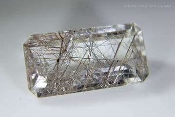 Quartz with silver Rutile inclusions, faceted, Brazil. 6.63 carats. ** SOLD **