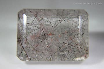 Quartz with Tourmaline inclusions, faceted, Brazil. 36.32 carats.