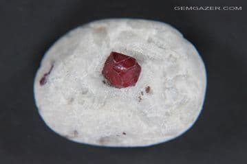 Ruby crystal on Calcite matrix cabochon, Afghanistan (fluorescent) 42.05 carats. ** SOLD **