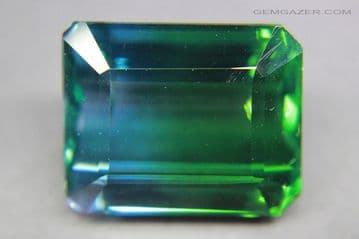 Synthetic Quartz, Bi-colour blue and green, faceted, Russia.  35.91 carats.