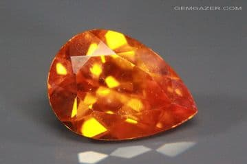 Zincite, orange-red faceted, Poland.  9.14 carats.  (See Video)