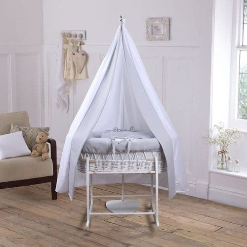 6 Piece Grey Moses Basket & Drape Set