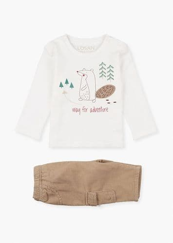 Bear Print T-Shirt & Trousers