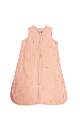 Bizzi Growin Muslin Sleeping Bag - Flamingo Gold