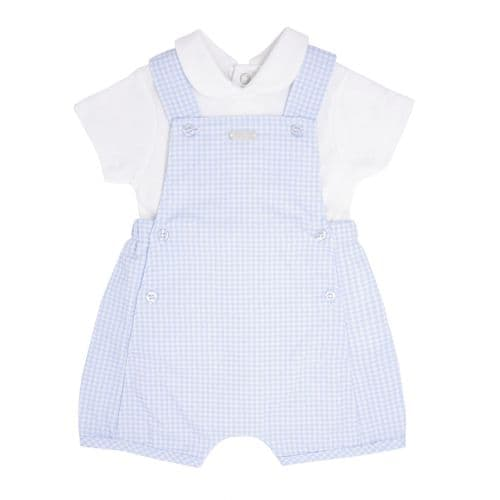 Blue Gingham Short Dungaree Set