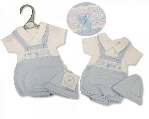 Blue Slot Ribbon Dungaree Bubble with White T-Shirt