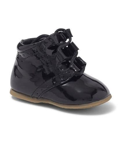Boys Black Hard Sole Boot with Lace Up Front
