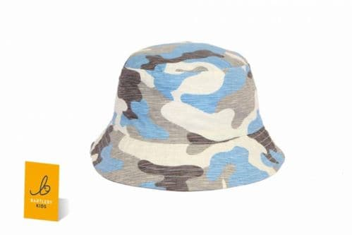Boys Grey & Blue Bucket Style Sun Hat - Camoflage
