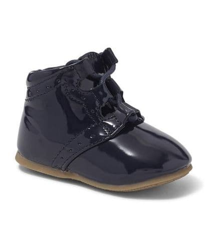 Boys Navy Hard Sole Boot with Lace Up Front