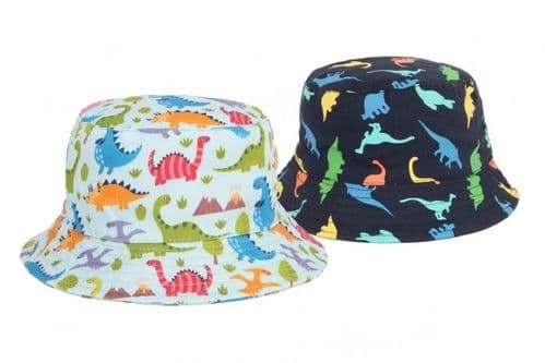Boys Navy or Sky Bucket Style Sun Hat - Dinosaur Design