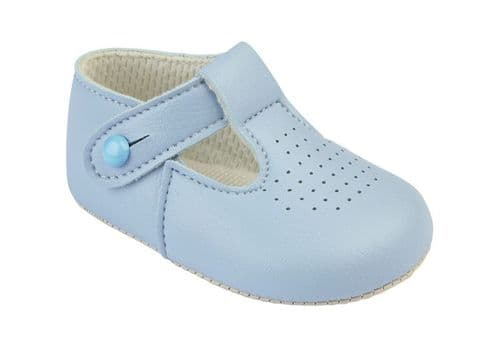 Boys Punched T-Bar Pram Shoes