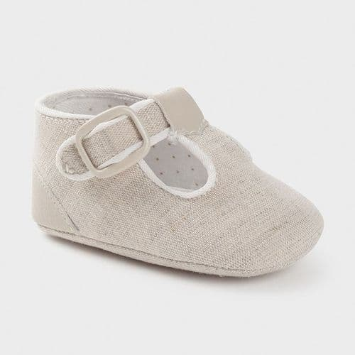 Boys T-Bar Soft Sole Shoe - Linen