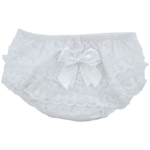 Cotton Frilly Pants with Ribbon and Lace Detail