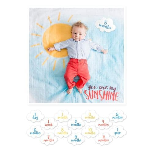 Cotton Swaddle & Milestone Cards - You are my Sunshine