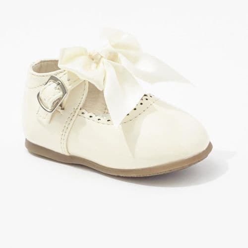 Cream Hard Sole Shoes with Velcro Fastening