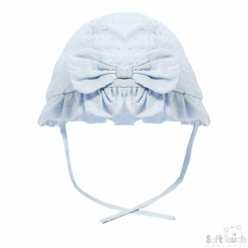 Girls Sun Hat with Bow - Blue