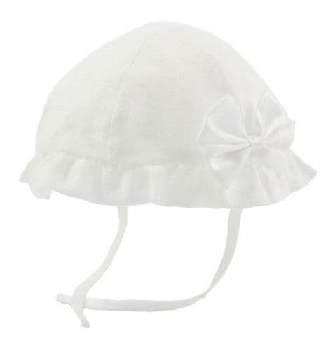 Girls Sun Hat with Bow - White