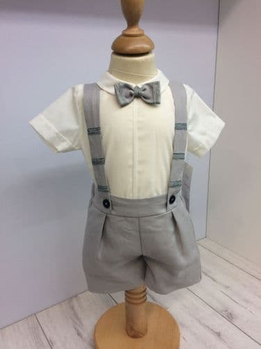 Grey Short and Shirt Set with Bow Tie