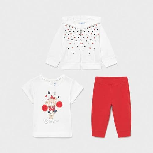 Hooded Tracksuit with Heart & Cheerleader Print