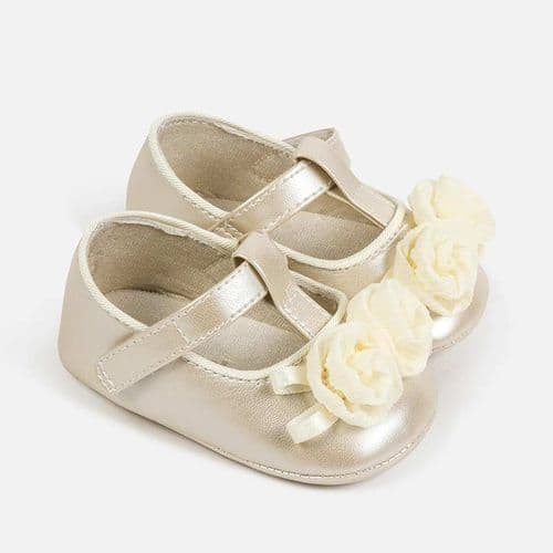 Mary Jane Soft Sole Shoe with Flower - White