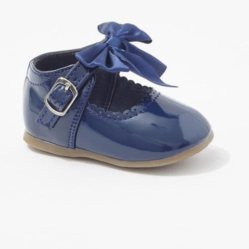 Navy Hard Sole Shoes with Velcro Fastening
