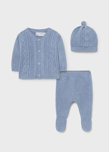 Organic Cotton Blue Cable Knit Set with Feet