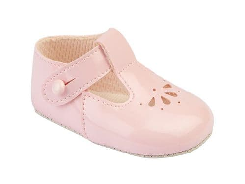 Patent Flower Punched Pram Shoe