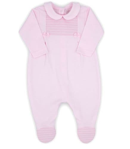 Pink Collared Sleeper with Smocked Panel & Bows