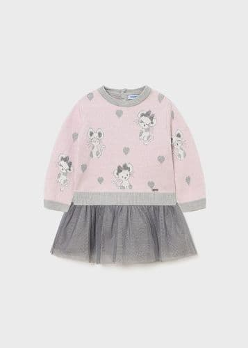 Pink & Grey Woven Tulle Dress And Jumper Set