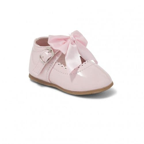 Pink Hard Sole Shoes with Velcro Fastening