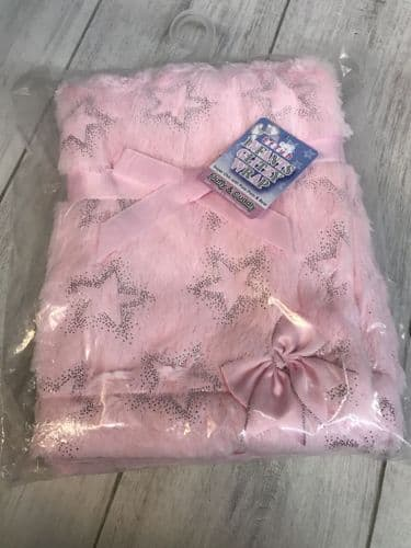 Pink High Pile Wrap with Silver Star Print