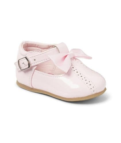 Pink Open Work Hard Sole Shoes with Bow Detail