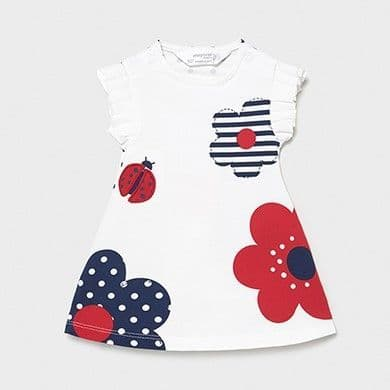 Pleated Dress with Red Flower & Ladybug