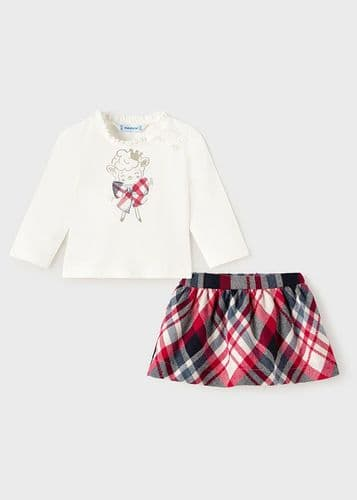 Red Check Skirt & Cream Top