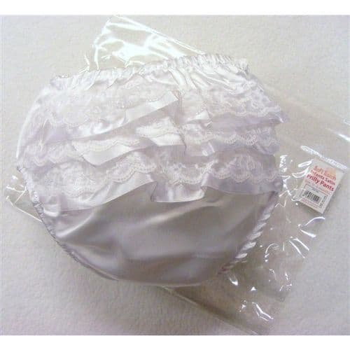 Satin Frilly Pants with Ribbon and Lace Detail