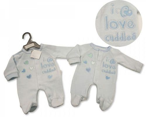 Tiny Baby Embroidered Romper - Sky
