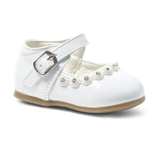 White Hard Sole Shoes with Gem & Pearl Detail