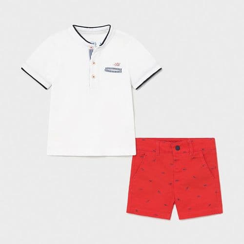 White T-Shirt with Grandad Collar and Shorts - Cyber Red