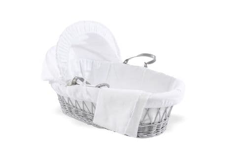 Wicker Moses Basket in Grey - Cotton Dream White
